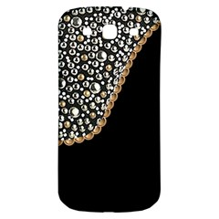 Black Leather Look W/silver Studs Samsung Galaxy S3 S Iii Classic Hardshell Back Case