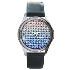 Rainbow Colored Bling Black Leather Watch (Round)