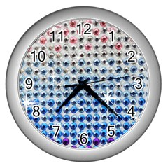 Rainbow Colored Bling Silver Wall Clock