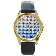 Rainbow Colored Bling Black Leather Gold Rim Watch (round)