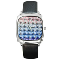 Rainbow Colored Bling Black Leather Watch (Square)