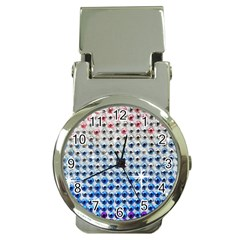 Rainbow Colored Bling Chrome Money Clip With Watch