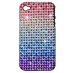 Rainbow Colored Bling Apple iPhone 4/4S Hardshell Case (PC+Silicone)