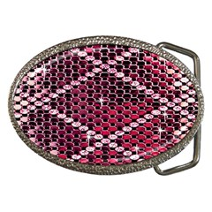 Red Glitter Bling Belt Buckle (Oval)