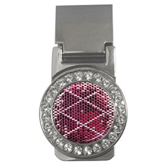 Red Glitter Bling Money Clip with Gemstones (Round)
