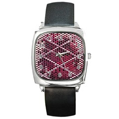 Red Glitter Bling Black Leather Watch (Square)