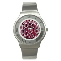 Red Glitter Bling Stainless Steel Watch (Round)