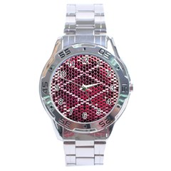 Red Glitter Bling Stainless Steel Analogue Watch (Round)