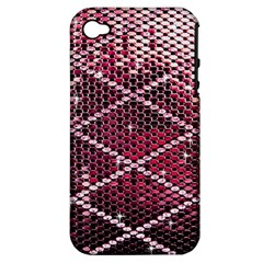 Red Glitter Bling Apple iPhone 4/4S Hardshell Case (PC+Silicone)