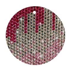 Mauve Gradient Rhinestones  Ceramic Ornament (Round)