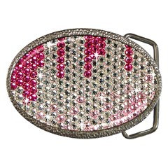 Mauve Gradient Rhinestones  Belt Buckle (Oval)