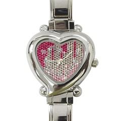 Mauve Gradient Rhinestones  Classic Elegant Ladies Watch (heart)