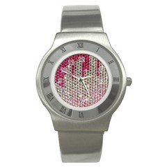 Mauve Gradient Rhinestones  Stainless Steel Watch (Round)
