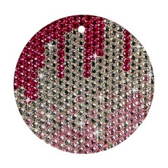 Mauve Gradient Rhinestones  Twin-sided Ceramic Ornament (Round)