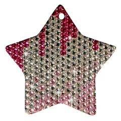 Mauve Gradient Rhinestones  Twin Sided Ceramic Ornament (star)