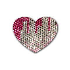 Mauve Gradient Rhinestones  4 Pack Rubber Drinks Coaster (Heart)