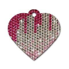Mauve Gradient Rhinestones  Single-sided Dog Tag (Heart)