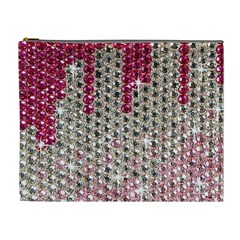 Mauve Gradient Rhinestones  Extra Large Makeup Purse