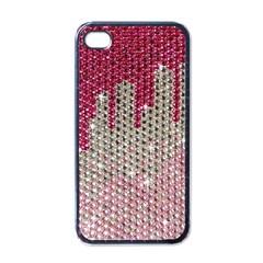 Mauve Gradient Rhinestones  Black Apple iPhone 4 Case