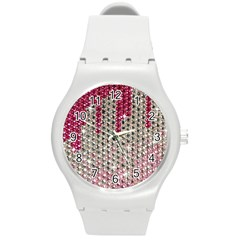 Mauve Gradient Rhinestones  Round Plastic Sport Watch Medium