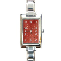 Studded Faux Leather Red Classic Elegant Ladies Watch (rectangle)