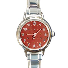 Studded Faux Leather Red Classic Elegant Ladies Watch (Round)