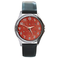 Studded Faux Leather Red Black Leather Watch (round)