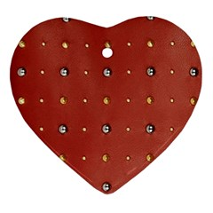 Studded Faux Leather Red Ceramic Ornament (heart)