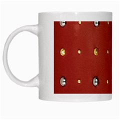 Studded Faux Leather Red White Coffee Mug