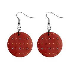 Studded Faux Leather Red Mini Button Earrings