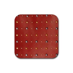 Studded Faux Leather Red Rubber Drinks Coaster (Square)