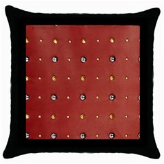 Studded Faux Leather Red Black Throw Pillow Case
