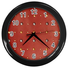 Studded Faux Leather Red Black Wall Clock