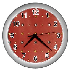 Studded Faux Leather Red Silver Wall Clock