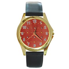 Studded Faux Leather Red Black Leather Gold Rim Watch (round)