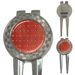 Studded Faux Leather Red Golf Pitchfork & Ball Marker