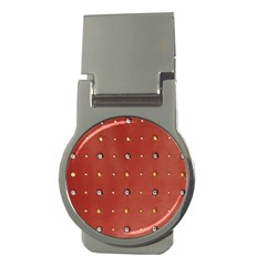 Studded Faux Leather Red Money Clip (round)