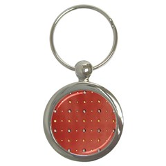 Studded Faux Leather Red Key Chain (round)