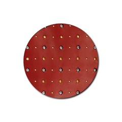 Studded Faux Leather Red 4 Pack Rubber Drinks Coaster (round)