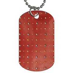 Studded Faux Leather Red Single-sided Dog Tag