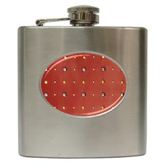 Studded Faux Leather Red Hip Flask