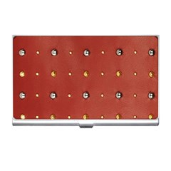 Studded Faux Leather Red Business Card Holder