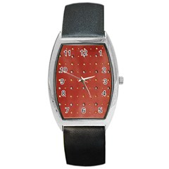 Studded Faux Leather Red Black Leather Watch (Tonneau)