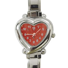 Studded Faux Leather Red Classic Elegant Ladies Watch (Heart)