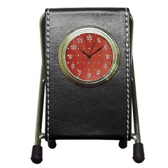 Studded Faux Leather Red Stationery Holder Clock