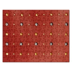 Studded Faux Leather Red Jigsaw Puzzle (Rectangle)