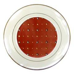 Studded Faux Leather Red Porcelain Display Plate