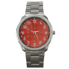 Studded Faux Leather Red Stainless Steel Sports Watch (Round)