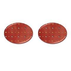 Studded Faux Leather Red Oval Cuff Links