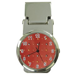 Studded Faux Leather Red Chrome Money Clip with Watch